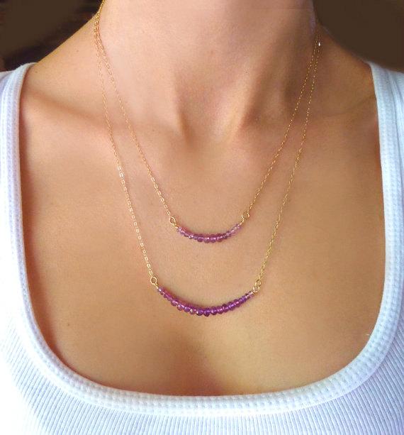 Свадьба - Amethyst Necklace - Purple Bridesmaid Necklace - Purple Beaded Necklace - Purple Gemstone Necklace - Long Purple Necklace - Wedding Jewelry
