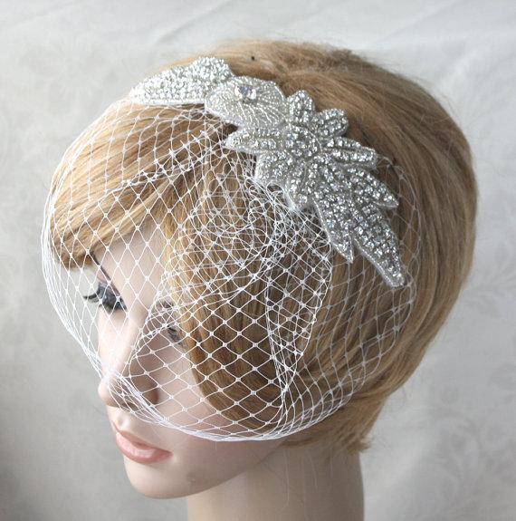 Wedding - Bridal Birdcage Veil  with detachable Crystal rhinestone applique (2 items) - 03