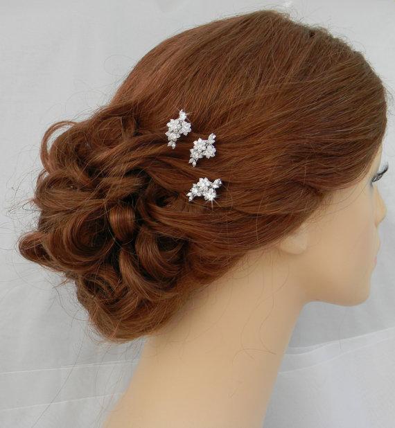 Wedding - Bridal Hair pins, Rose Gold Wedding Hair clip, Gold, Vintage style hairpins, Swarovski crystal hair comb, Rhinestone, Piper Hair Pins