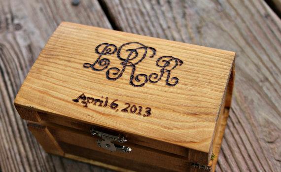 زفاف - Rustic Woodburned Ring Bearer Box -Monogram