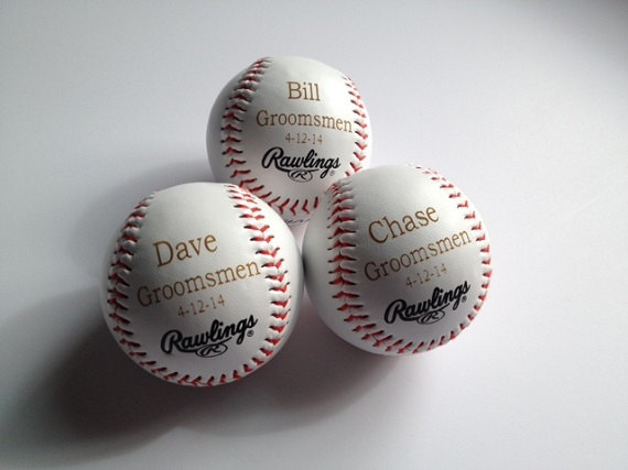 Wedding - Groomsman Gift Idea - 14 Baseballs - Engraved or Personalized Baseball - Ring Bearer Gift - Junior Groomsman Gift Idea - Groomsmen