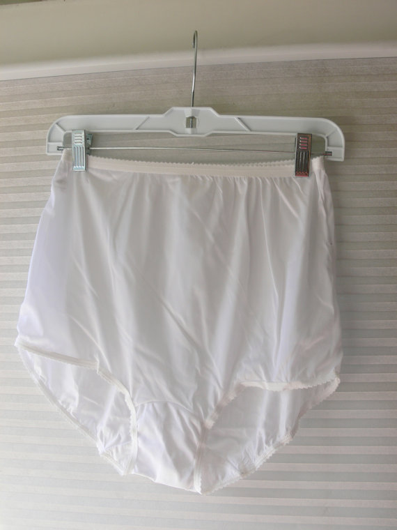 Wedding - white nylon panties large