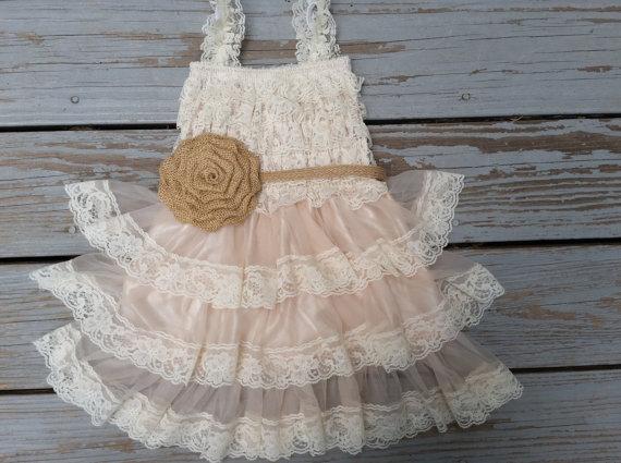 Wedding - Rustic Flower Girl Dress-Lace Pettidress/Rustic Flower Girl Outfit/Wheat Cream Flowergirl/Country Wedding-Burlap Flower Girl-Buralp Sash