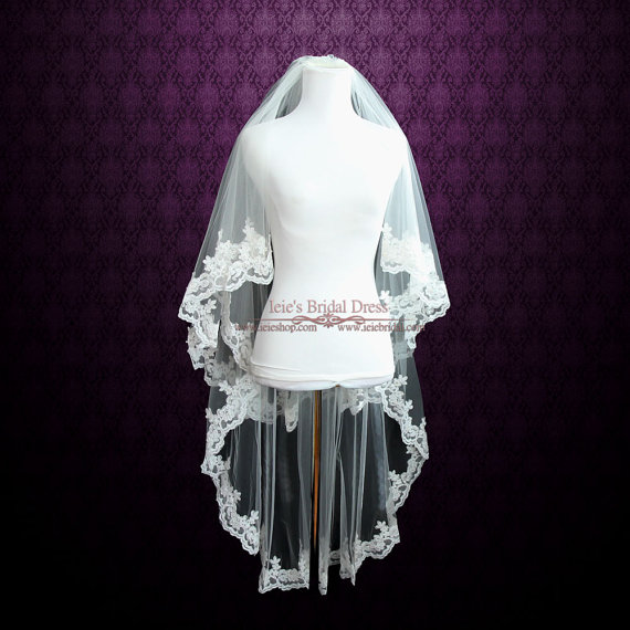 Mariage - Two Tier Fingertip Length Lace Wedding Veil with Pearl Beadings