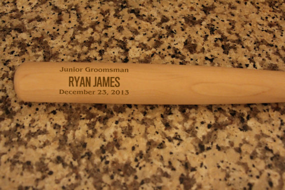 Wedding - Personalized Groomsmen Gifts, 2 Engraved Mini Wood Baseball Bats for Jr. Groomsman, Groomsmen Keepsake, Ring Bearer Gift