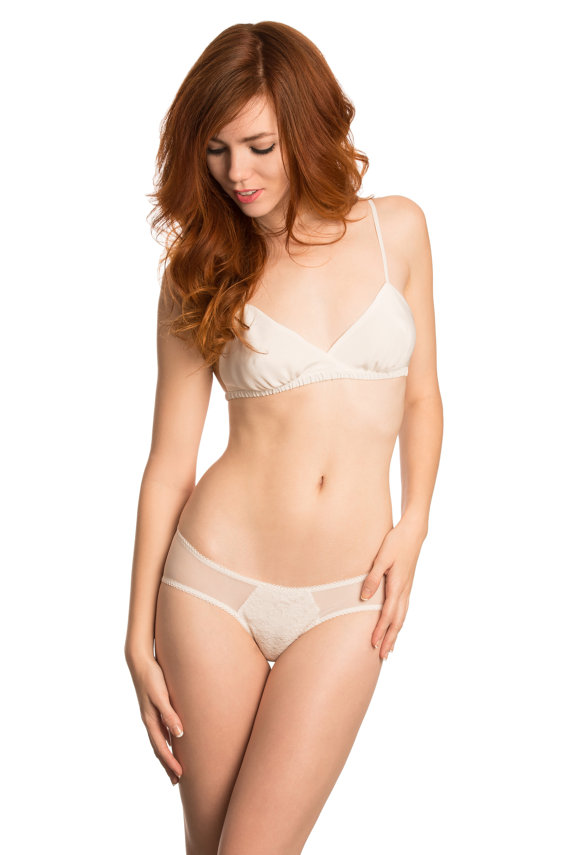 Mariage - Louisa silk and lace panties- ivory silk with French lace and mesh. Sheer knickers knicker panty luxury lingerie bikini briefs
