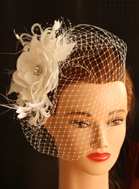 Mariage - BIRDCAGE VEIL vintage style wedding headdress. Ivory, champagne  wedding hat,bridal hat. Amazing fascinator, hair flower, feathers.