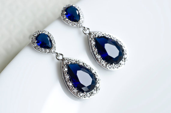 Shire Earrings Blue Bridal Cubic Zirconia Ear Post And Teardrops Bridesmaids