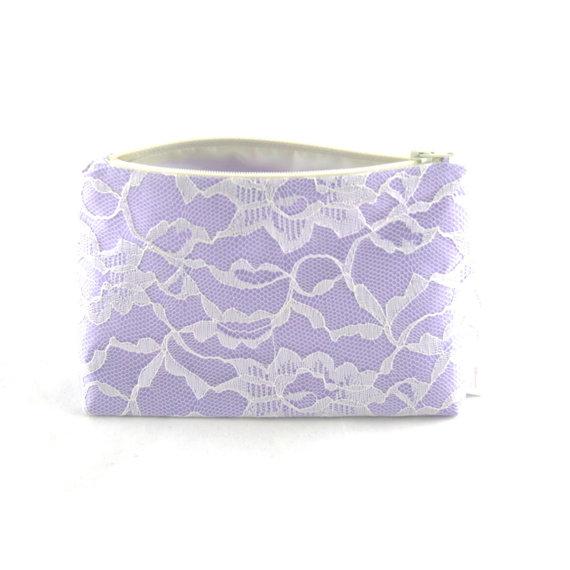 Mariage - Lavender Bridesmaid Gift, Wedding Cosmetic  Bag / Clutch, Lilac Orchid Purple Wedding, Flower Girl, Gift for Women, Bridal Clutch Accessory