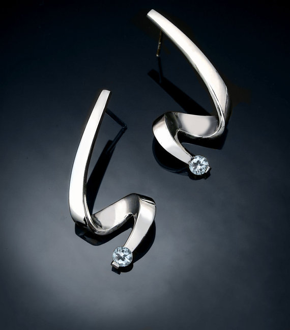 Mariage - aquamarine earrings - March birthstone - blue - wedding - Argentium silver - fine jewelry - designer jewelry - 2380