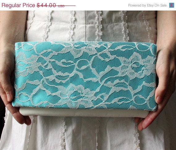 Mariage - Sale 10% Off The LENA CLUTCH - Aqua and Ivory Lace Clutch - Blue Wedding Clutch - Blue Bridesmaid Clutch