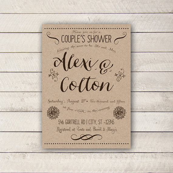 Couples Shower Invitation, Rustic Couples Shower Invitation, Couples Bridal Shower, Couples Baby