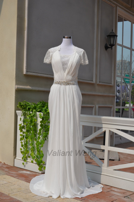 Wedding - Ivory Lace Chiffon Wedding Dress Floor Length Dress With Sequin