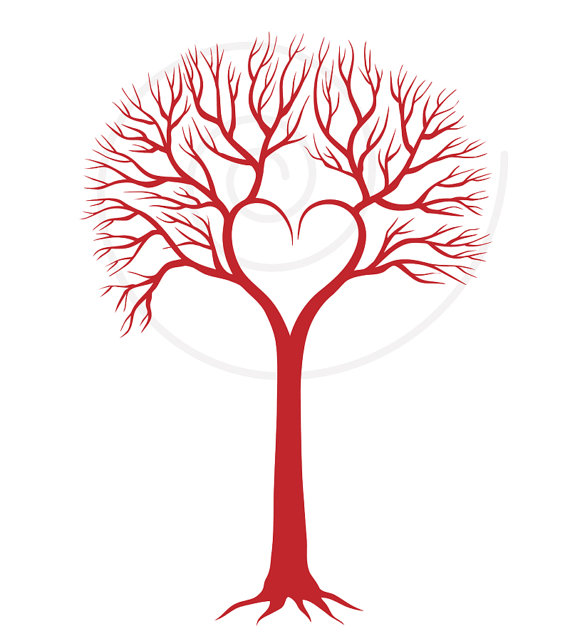 Red Wedding Tree With Heart, Wedding Invitation, Wedding ...