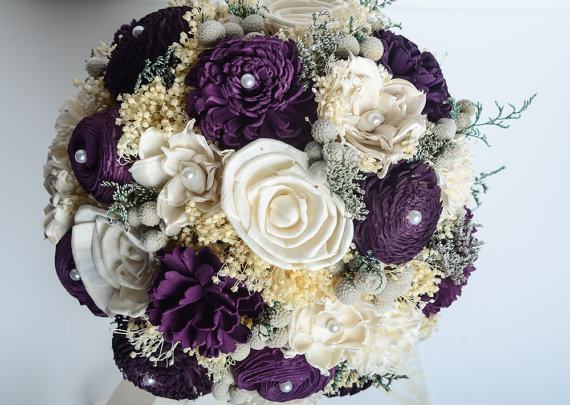 Mariage - Purple Bridal Bouquet, Sola Flower Bouquet, Keepsake Bouquet, Vintage Bouquet.