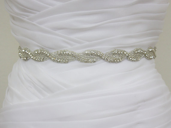 Mariage - AMELIA I- Bridal Swarovski Crystal Rhinestone Sash, Wedding Crystal Belt, Bridesmaid Crystal Sash, Bridal Party