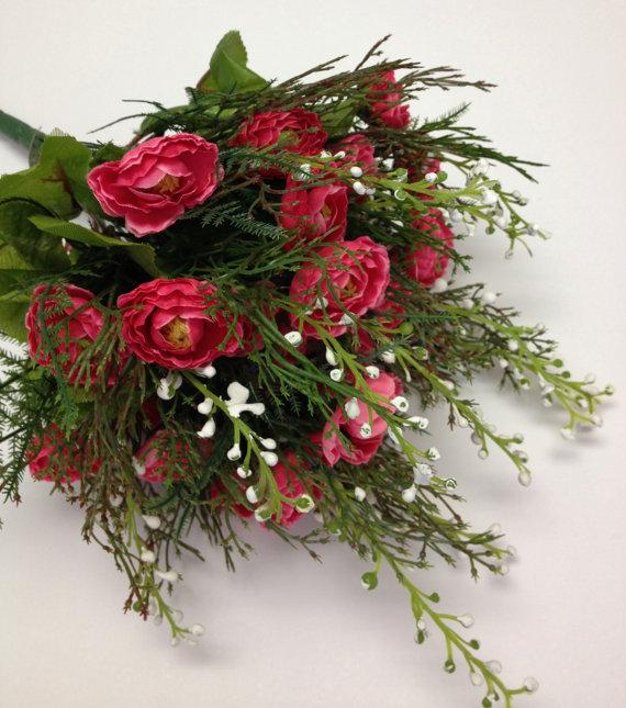Mariage - Flower Bush - Dark Pink Mini Ranunculus Berry Bush - Flowers ON STEM With Filler - Flower Bush