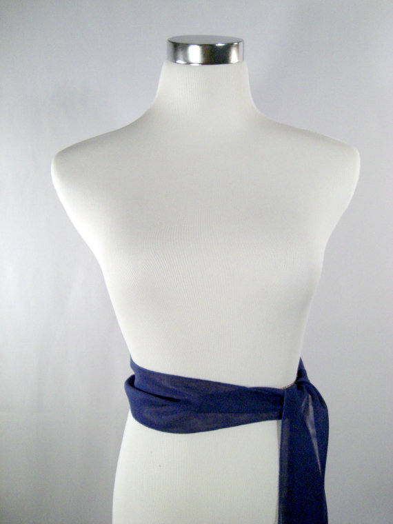 Свадьба - Cobalt Blue Wedding Sash - Cobalt Blue Chiffon Sash - Long Sash Belt Tie - Squared Ends