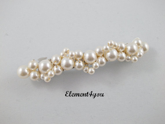 Mariage - Pearl Bridal Barrette, Wedding Barrette, Beaded Pearl Barrette, Pearl Hair Accessory, Wedding Hair Clip, French Barrette, Cream Ivory White