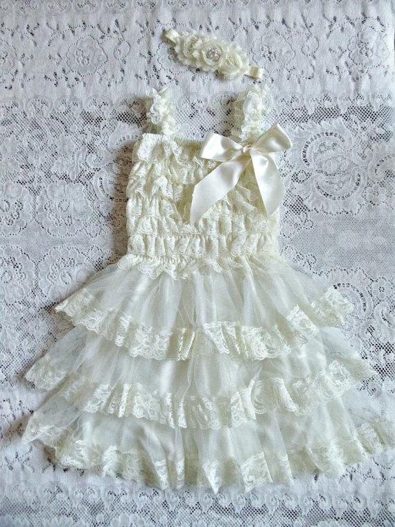 Wedding - Ivory Rustic Flower Girl Dress,Country Wedding Dress,Chiffon Ivory Flower Girl Dress,Flower Girl Dress, Lace Flower Girl Dress,First Birhday