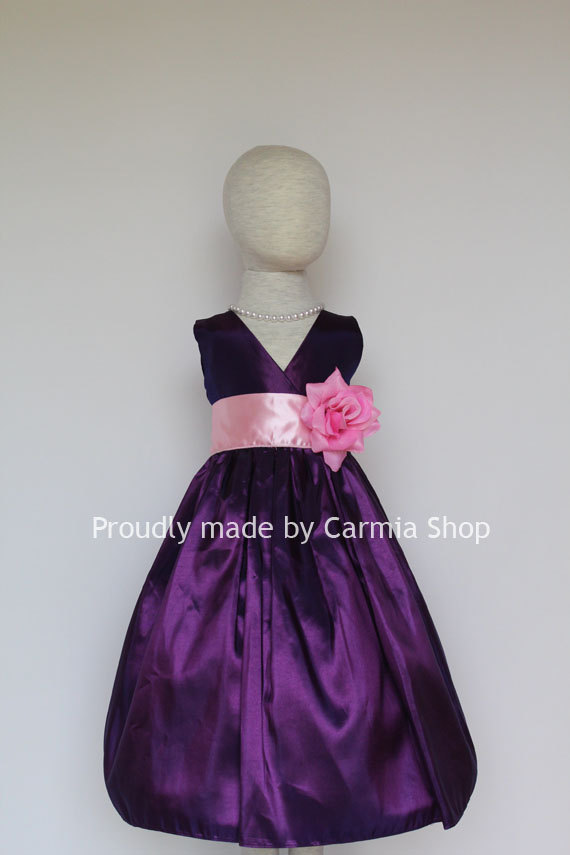 Wedding - REGENCY PURPLE Flower Girl Dresses Mercury Pink Tickled (FVN01) Easter Wedding Communion Princess Party. Toddler Baby Infant Kids Teen Sale