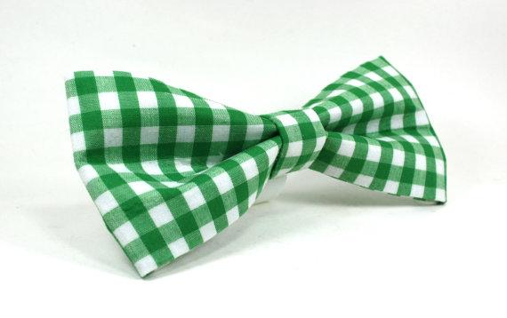 زفاف - Dog Collar Bow Tie in Green Gingham - Removable and Adjustable Dog Bow Tie, Wedding Dog Bow Tie, Preppy Dog Bow Tie