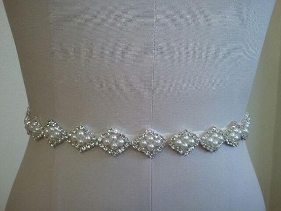 Wedding - Wedding Belt, Bridal Belt, Sash Belt, Crystal Rhinestone & Off White Pearls - Style B20003