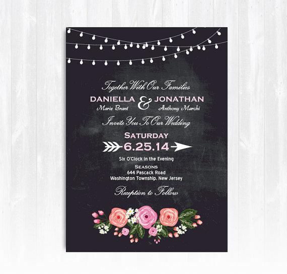 Wedding - Chalkboard Peony Wedding Invitation DIY PRINTABLE Digital File or Print (extra) Chalkboard Wedding Invitation String Lights Invitation