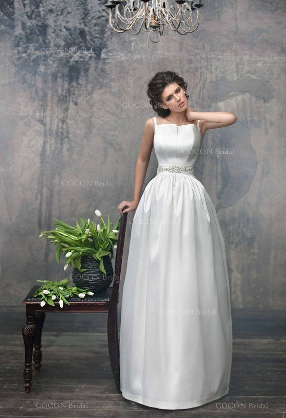Simple Chic Wedding Dress From Mikado Designer Unique Handmade Gown Luxury Aristocratic Antares