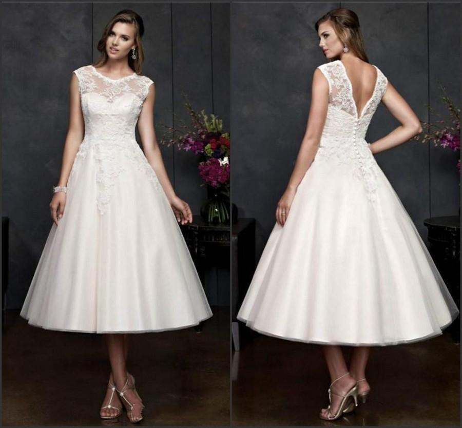 Vintage 2014 a line short wedding dresses portrait neck for Vintage t length wedding dresses