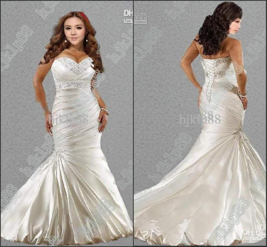 Hot sale new sexy 2014 mermaid sweetheart plus size for Satin sweetheart mermaid wedding dress