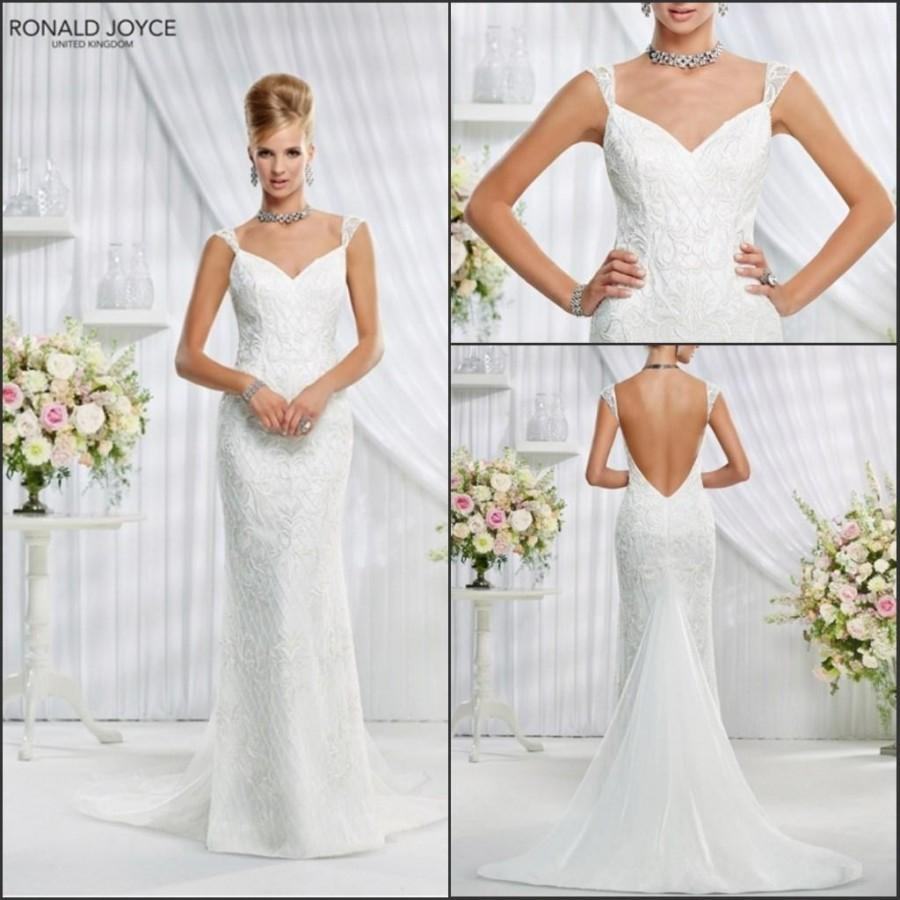 New Arrival 2015 Spring Lace Veni Infantino Sheath Wedding Dresses With Capped Applique Tulle V Neck Backless Bridal Gowns Custom Made Online
