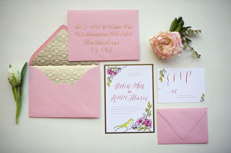 Wedding - Gold And Pink Wedding Invitations