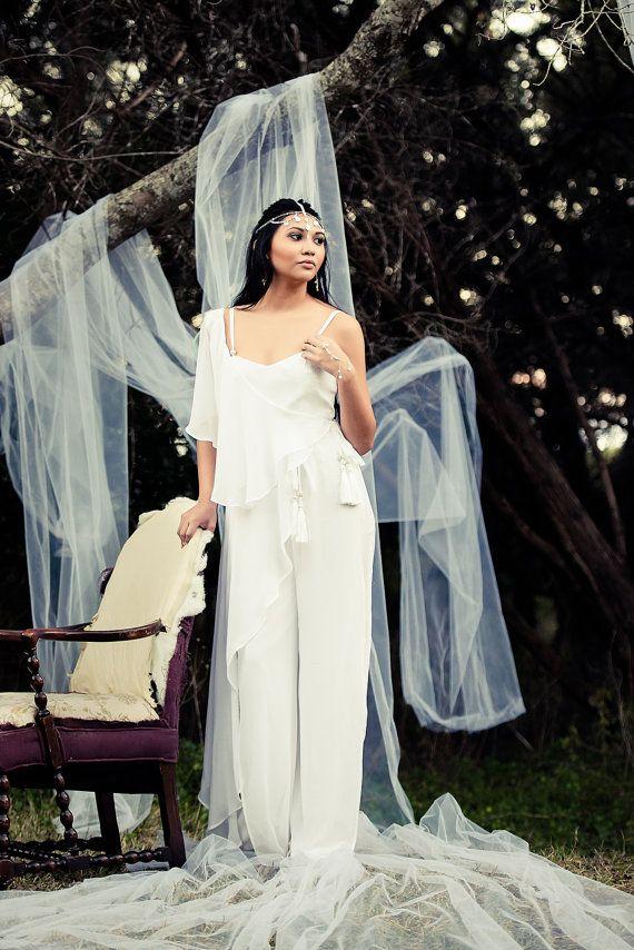 زفاف - Sandy Bridal Jumpsuit With Wrap