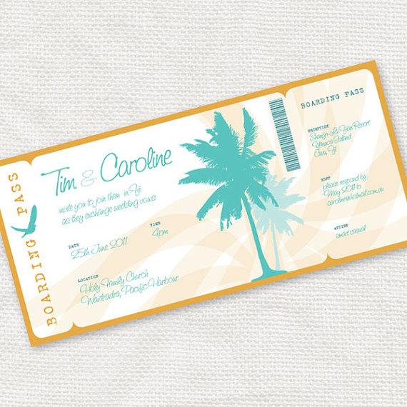 Wedding - beach party invitation - printable DIY wedding invitation - palm tree boarding pass or classic invite