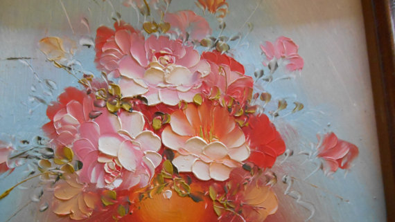 Mariage - Pretty in Pink Small Oil Painting, A Lovely Bright Everlasting Bouquet, Say I Love You with This Retro Oil on Board, Unique Valentine