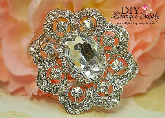 Mariage - Large Rhinestone Brooch - Wedding Jewelry - Elegant Wedding Brooch Pin Accessories - Crystal Brooch Bouquet - Wedding Sash Pin 60mm 333198