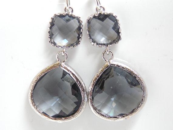 Mariage - Gray Earrings, Grey Earrings, Silver Earrings, Charcoal Earrings, Wedding, Bridesmaid Earrings, Bridal Earrings Jewelry, Bridesmaid Gift
