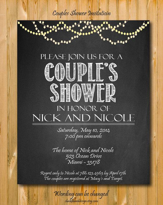 Mariage - Printable Couples Shower invitation, custom Party invitation, custom chalkboard invite
