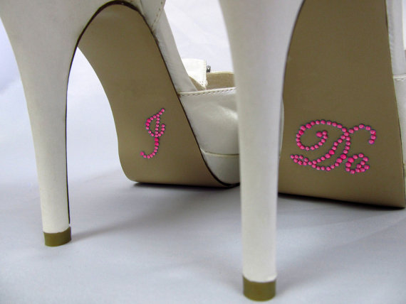 Mariage - I Do Shoe Stickers - Hot Pink Rhinestone I Do Wedding Shoe Stickers - Rhinestone I Do Shoe Decals for your Bridal Shoes