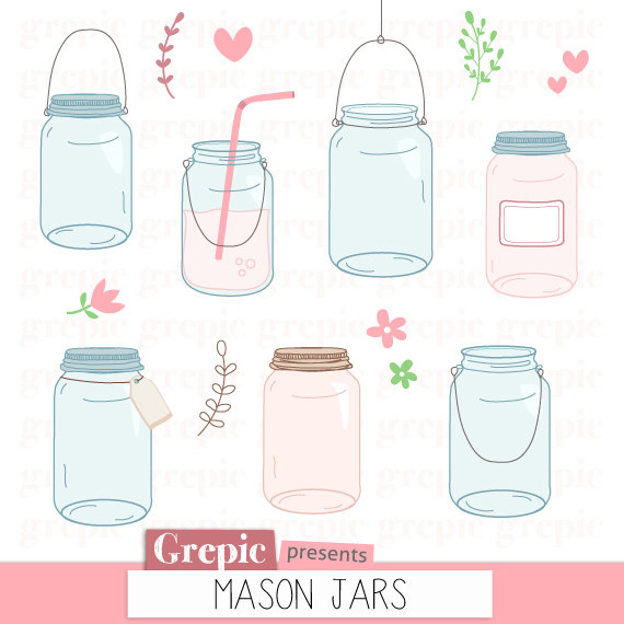 "Hochzeit - Mason jar clip art: ""Mason jars"" clipart pack, rustic wedding clipart, summer, spring, pink, blue, hanging jar, label, tag, digital images"