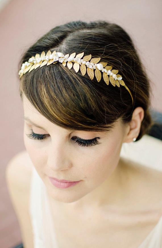 Mariage - Gold Leaf Headband, Pearl Bridal Headpiece, Crystal Headband, Wedding Headband, Bridal Rhinestone Headband, Bohemian Bridal Hair Crown