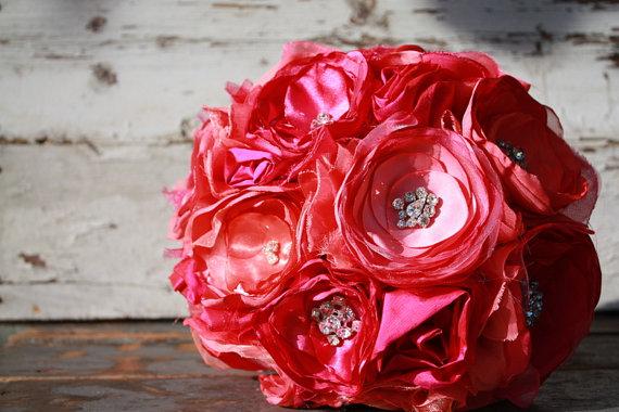 "Mariage - Fuschia and coral wedding bouquet, 8"" fuschia pink fabric flower brides bouquet"