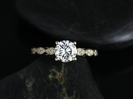 زفاف - Helena 6mm 14kt Yellow Gold Thin Round FB Moissanite and Diamonds Engagement Ring (Other metals and stone options available)