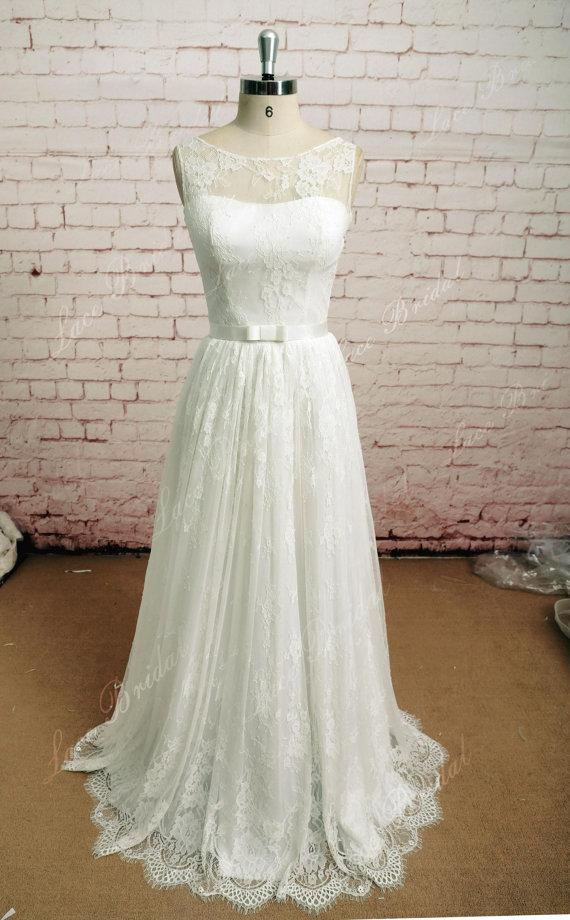 Wedding - Soft Lace Style Bridal Gown, sleeveless Wedding Dress, A-line Wedding Dress,Elegant Wedding Dress
