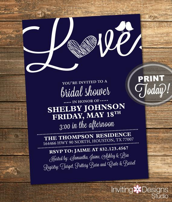 bridal shower invitation love birds heart blue navy blue white modern printable file custom instant download