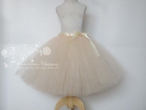 Wedding - Adult Beige Cream Tutu Skirt Teen Champagne Tulle Skirt Beige Bridesmaid Champagne Bridesmaid Skirt by American Blossoms