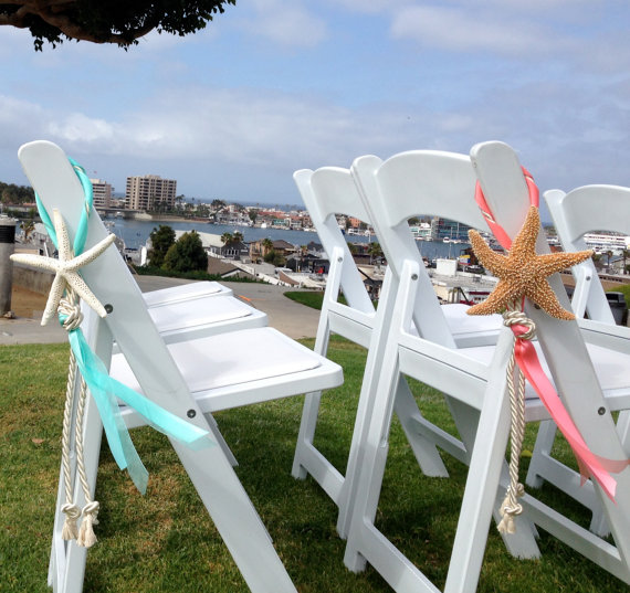 Beach Wedding Decor Starfish Chair Decoration With Cotton Cording And Satin Sheer Ribbons