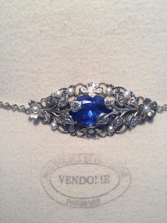 Mariage - Sapphire blue Bridal belt blue Rhinestone belt silver Bridal belt Wedding belt Bridal accessories Dress belt Silver blue belt Bridal sash