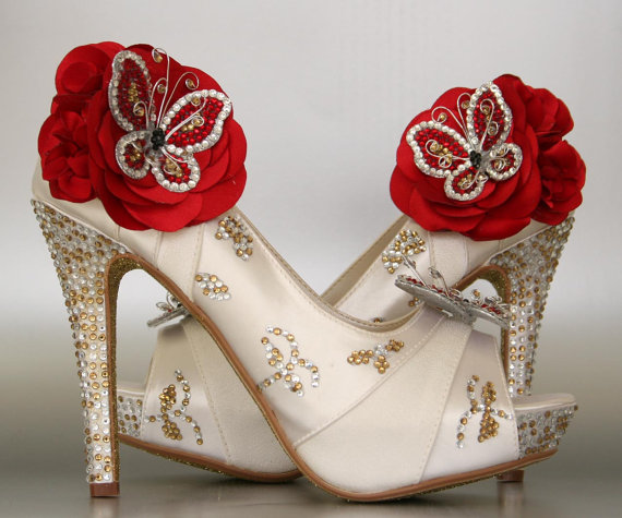 Hochzeit - Wedding Shoes -- Ivory Platform Peep Toe Wedding Shoes with Silver & Gold Rhinestones, Gold Glitter Sole and Red Rhinestone Butterflies